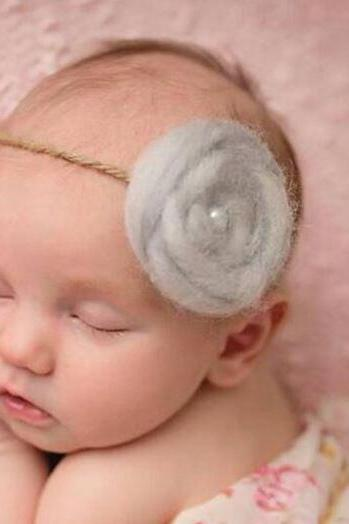 Wool Headpiece for Newborn Girls Props Photography Props Gray Flower Headband Wedding Tiara