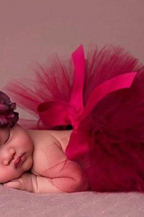 Red Tutu Dress Newborn Girls Props Photography Skirt with FREE Headband Red Dress