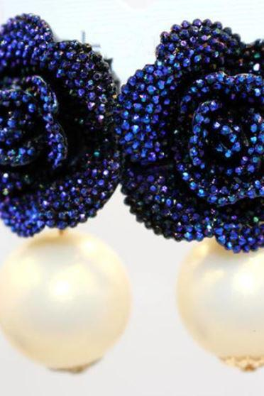 Sweet Blue Flower Earrings Simulated Pearl Earrings Birthday Gift for Women