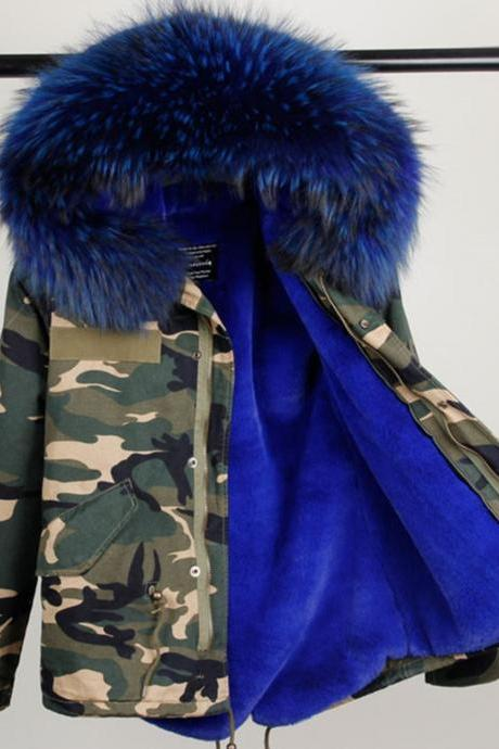 Camouflage Down Parkas Winter Jackets for Women Royal Blue Overcoat Down Parkas Ultra Long Military Winter Coats