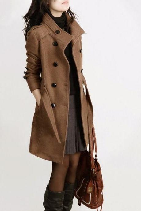 New Brown Wool Overcoat Buckled Shoulders Fashion Brown Trench Coats for Women