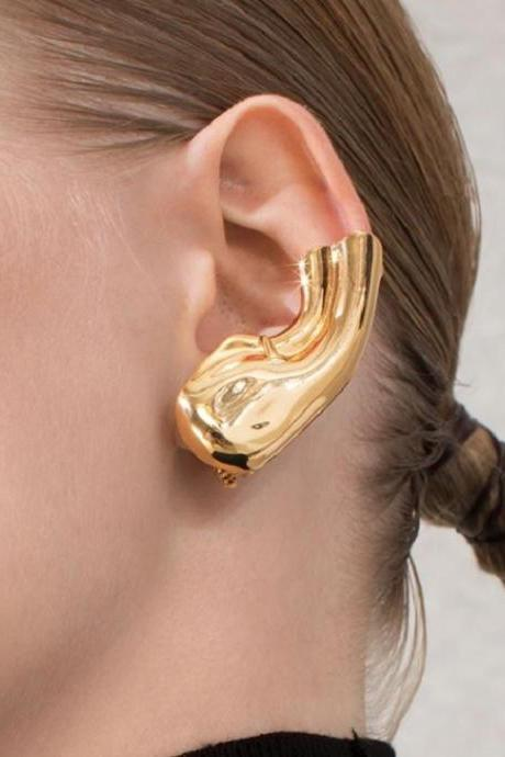 Easy Ear Clips Unisex New Fashion Golden Ear Lobe Accessories No Pierce Jewelries for Men and Women-Golden Clip Earrings