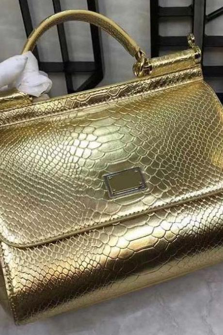 Luxury Life Golden Bags for Women with FREE Wallet Real Leather Bags Golden Totes Gift for Wife Snake Skin Pattern
