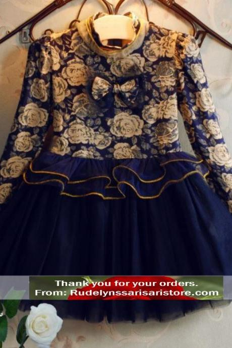 3T Navy Blue Dress for Girls Long Sleeve Navy Blue printed Ivory Rose Flowers