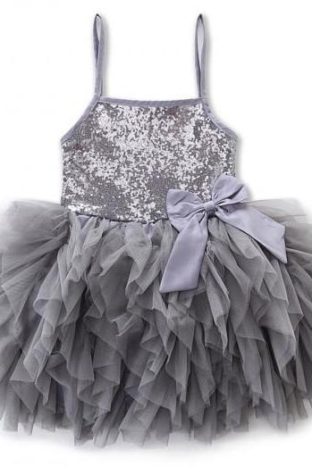 Sequined Dress Silver Dress for Girls with Silver Headband Fuller Tuller Ballerinas Gray Dress Pageant Dress for Girls