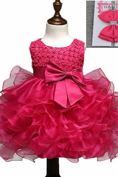 Hot Pink Baby Dress 9-12 Months Ready for Shipping Baby Dress Tiered Baby Dress with Matching Bow Headband