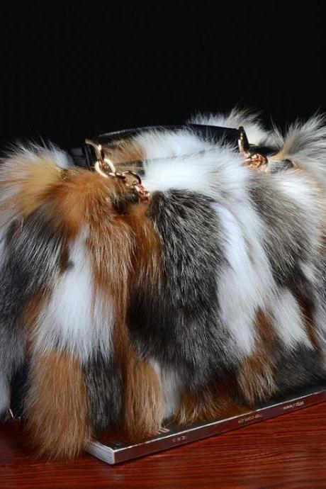 High Quality Multicolor Real Fox Fur Bags Free Shipping Versatile Leather Silver Fox Fur Tote Bags