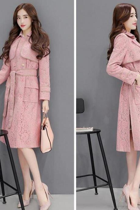 Unique Women Elegant Split Sides Trench Coats New Arrival and Ready to Ship Peach Trench Coats for Women