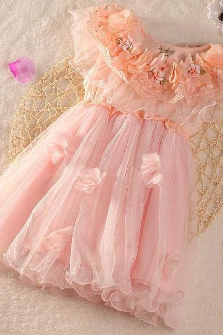 RSSLyn 12-24 Months Spring Tutu Dresses with Free Headband-Pink Dress for Girls Wedding Dress Prom Dress Birthday party Dress