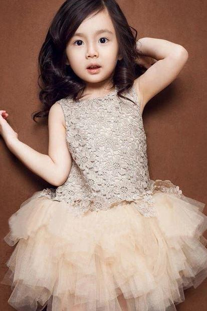 Ivory Dress for Girls 4T Ivory Color Dress Rosette Flowers Sparkling Dress for 4T Girls