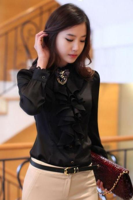 Medium Black Blouse Ruffled with Mandarin Neckline Elegant Chiffon Blouse for Women