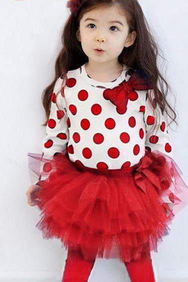 4t Red Polka Dots Clothing Set for Girls Red Polka Dots Tierred Tulle Leggings Girls Toddler 4T Girls