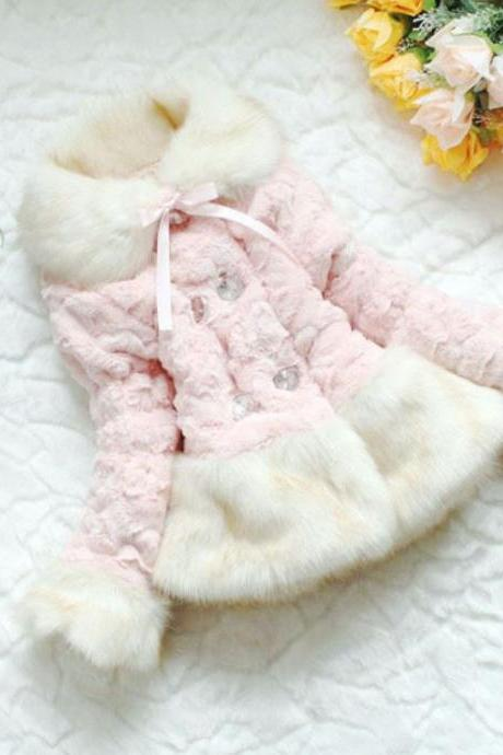 Pink Jacket for Toddler Girls 3T,4T,5T Very Soft in Texture Pink Winter Overcoats for Little Girls