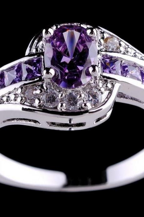 Purple Rings Amethyst 10K White Gold Filled Ring Womens Finger Purple Wedding Rings