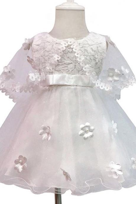 Christening Dress with Lacy Sheer Cape Shoulder Wraps for Newborn Baby Girls Free Shipping White Dresses