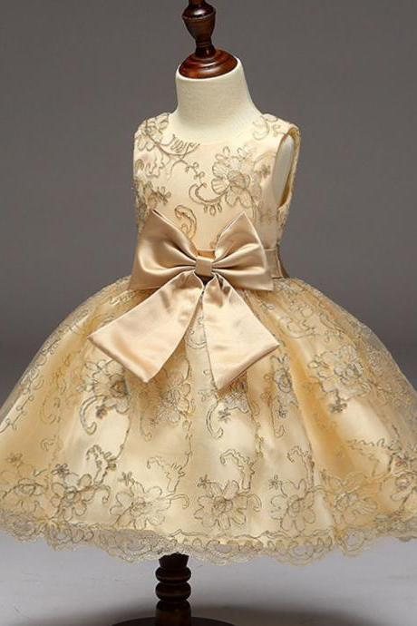Fashion Golden Dress for Girls Tutu Dress Ballgown Luxury Dresses
