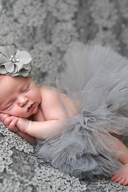 Gray Tutu Dress for Newborn Infant Props with Matching Blue Headband Cute Photography Props