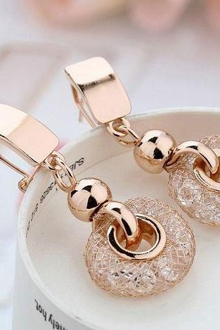 New Arrival Luxury Rose Gold Drop Earrings Champagne Wire Unique Golden Earrings