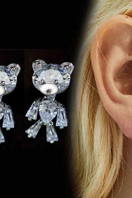 SALE! Cute bear CZ Crystal Cubic Zirconia Stud Earrings for Women-925 Sterling Silver Earrings Movable Bear Notion