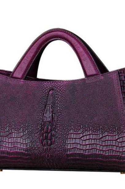 Purple Purse Ready to Ship Purple Leather Shoulder Bag for Women