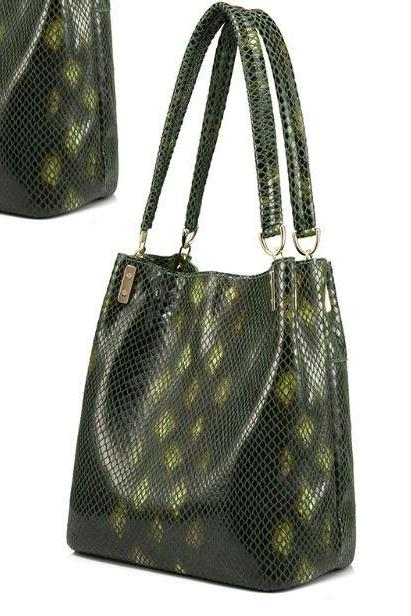 Green Leather Bag Serpentine Pattern Leather Shoulder Bags for Women Medium Size Purse