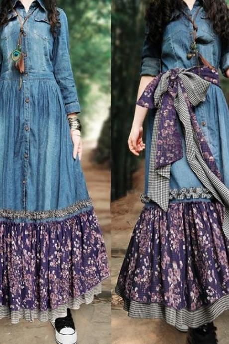RSS Boutique Exquisite Floral Texas Cowgirl Women's Denim Maxi Dress Purple Floral Dress