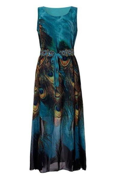 Maxi Dress for Women Peacock Dress Summer Dress Sleeveless Dress Plus Sizes 4XL,5XL