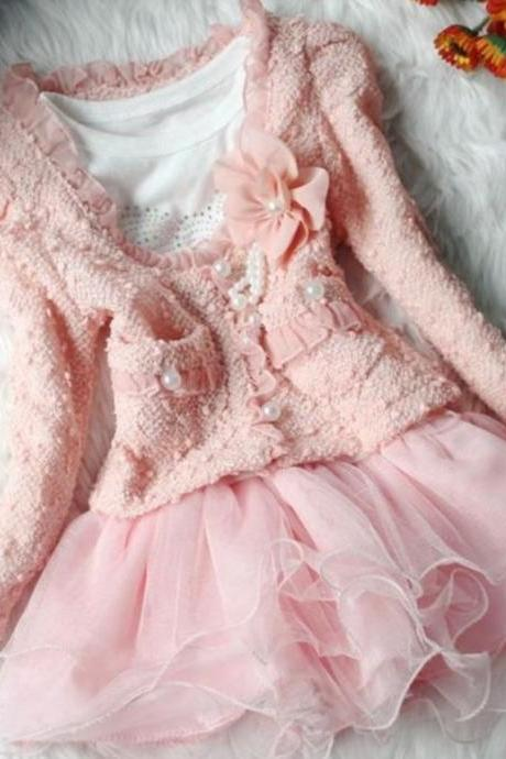 Pink Dress for 2T Girls-Pearl Pink Dress-Ruffled Pearl Tutu Dress with Shrug
