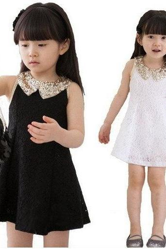 9 Months Black Dress for Girls- Golden Sequin Dress for Girls