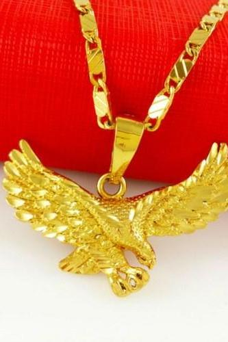 Gold American Eagle Necklace 24K Gold Eagle Necklace and Pendant