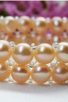 Freshwater Pearl Bracelets for Women Peach Color 2 Layers