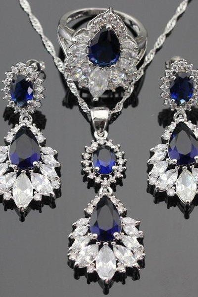 Sapphire Blue Stones White CZ 925 Sterling Silver Jewelry Sets For Women Drop