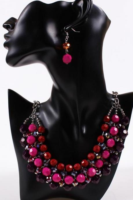 Purple and Pink Multicolor Bohemia Jewelry Set Necklace and Earirngs