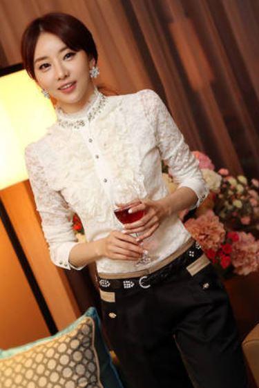 Medium Size White Blouse for Women Ruffled with Laces and Pearls