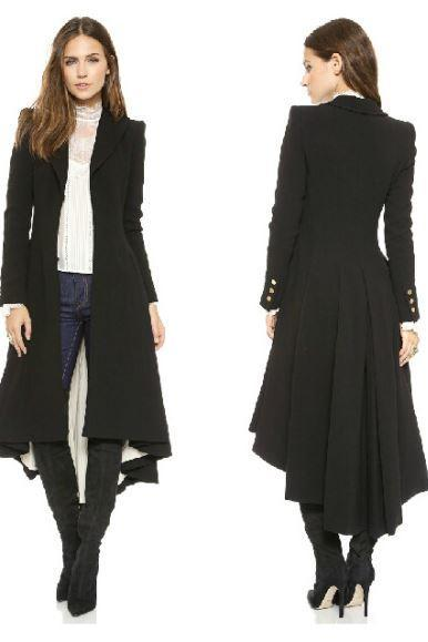 M,L,XL British Style Tuxedo Manteau Femme Black Long Coats for Women Ruffled Tail Overcoat