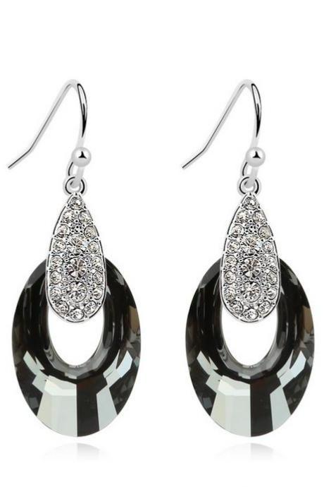 Swarovski Black Earrings Big Swarovski Drop Earrings Fashion Luxury Black Earrings