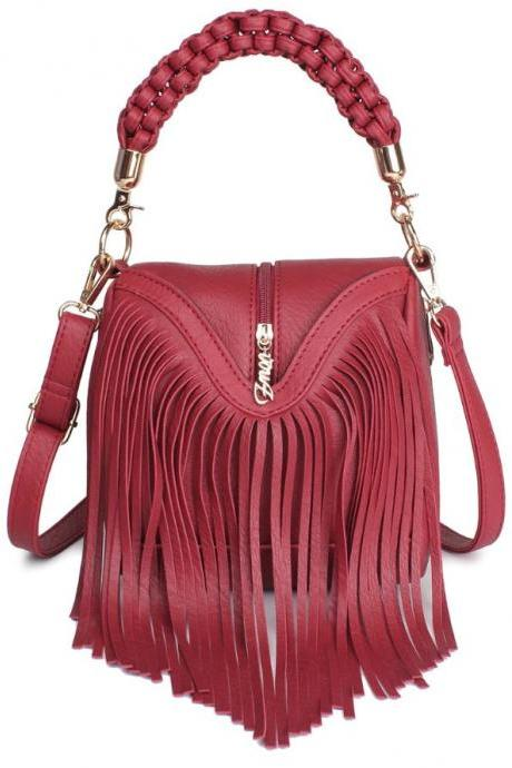 Fashion Cowgirls Shoulder Bags Red Purses for Women with Long Fringe Red Leather Handbags Special Runaway Bags