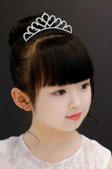 Cute Crown for Little Princesses Comb Silver Tiaras Fashion Crown Tiaras for Little Girls
