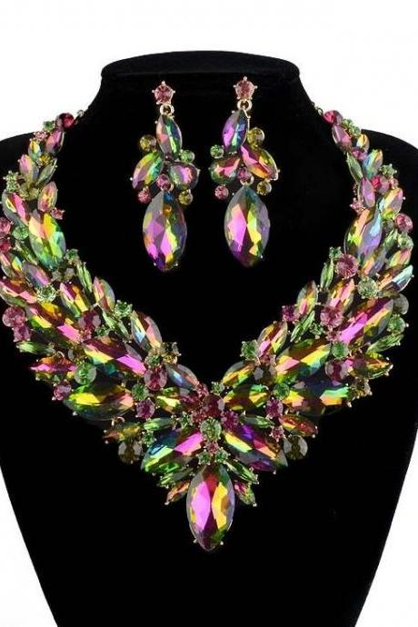 Rainbow Color Aurora Women Accessory Marquise Cut AB Crystal Bridal Jewelry Sets for Women's Party