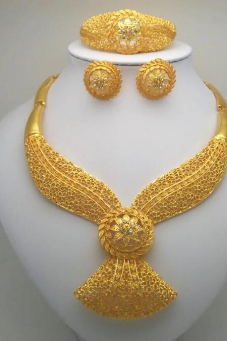 Luxury Style Jewelry Set for Women Dubai Gold Plated 4pcs/Set Floral Pattern Hollow Style