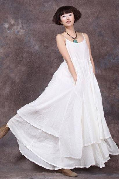 White Linen Dress Summer Casual Dress for Women Bridesmaids Dress Spring Dress for Women