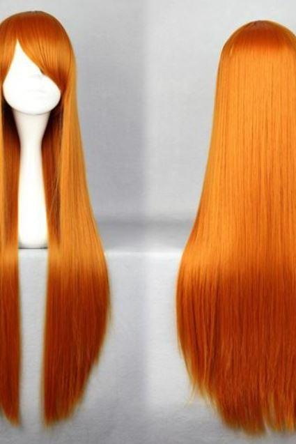 32 Inches Orange Cosplay Eva Asuka Beautiful Heat Resistant Synthetic Long Orange Hair Wig