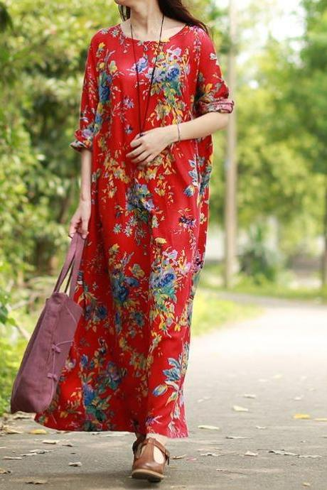 Red Maxi Dress Linen Printed Floral Dress Floor Length Maxi Dresses S-6XL