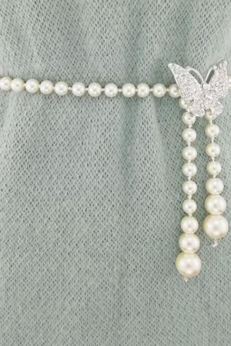 Butterfly Belts for Bridesmaids Pearl Belts FREE Shipping Bridal Skinny Belts