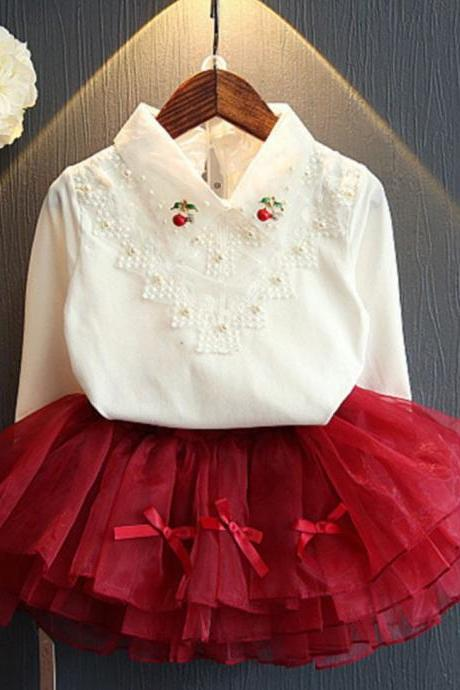 Merry Christmas White Lacy Blouse and Burgundy Tutu Skirt Matching Set for Toddler Girls