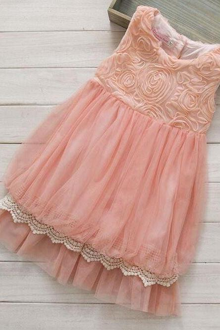 Balloon Pink Floral Dress Vintage Dresses Sleeveless Tutu Dress Free Headband for Girls