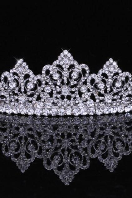 Full of Pure Top Crystal White K Gold Plated Bridal Jewelry Crown Tiara