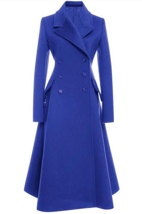 Rsslyn Winter Coat for Women Blue Long Trench Coats for Fall Autumn and Winter Jacket for Women