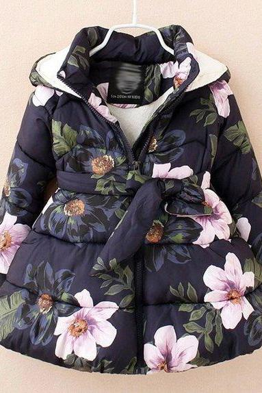 Navy Blue Floral Parkas 3t,4t,5t,6t Girls Winter Coats Parkas Hooded Warm and Thick Duck Down Parkas