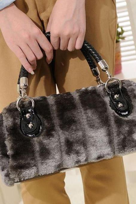 Silver Bag Gray Faux Fur Super Soft Tote Bags for Women Ready for Shipping